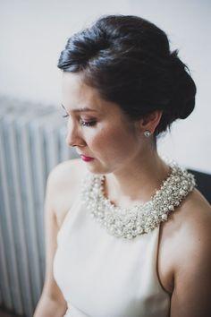 adorned collar wedding dress / © Khaki Bedford Photography www.khakibedfordphoto.com