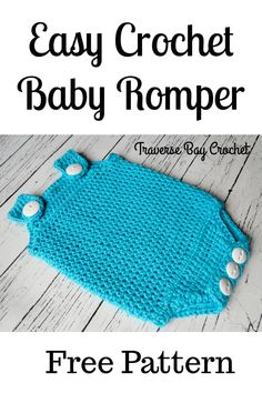 Baby Onesie Crochet Romper | Free simple crochet baby pattern Baby Clothes Patterns, Crochet Baby Clothes, Baby Patterns, Crochet Patterns, Frock Patterns, Crochet Stitches, Knitting Patterns, Sewing Patterns, Crochet For Boys