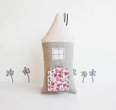Tooth fairy pillow cottage with room in the back for a tooth and tiny note. Sweet! Etsy.com