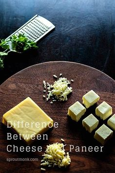 Looking to make your favorite Indian dish?  Do you want to know the difference between Cheese and Paneer? Check out this detailed comparison guide for more information. North Indian Recipes, South Indian Food, Indian Food Recipes, Vegetarian Recipes, Yummy Snacks, Snacks Recipes, Yummy Food, Delicious Recipes, Food Hacks