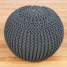 Charcoal Knitted Pouf | World Market