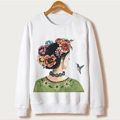 New 2016 Autumn Women Hoodies Frida Kahlo Print Sweatshirt Casual Full Sleeve Plus Size Hooded Sweatshirts O-neck Chandal Mujer