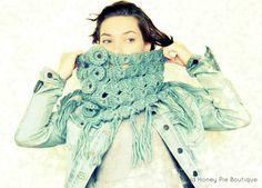 Crochet Cowl  Broomstick Lace  Grey Blue by wildhoneypieboutique, £50.00