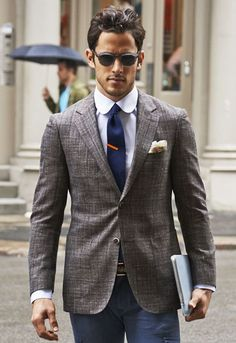 Shop this look for $158:  http://lookastic.com/men/looks/dress-shirt-and-pocket-square-and-tie-and-blazer-and-chinos/1168  — Violet Dress Shirt  — Beige Pocket Square  — Navy Knit Tie  — Grey Blazer  — Navy Chinos