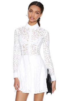 Viola Lace Dress - Ivory   Shop Going Out at Nasty Gal