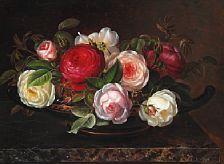 830/117 - I. L. Jensen: Various roses in a greek bowl.