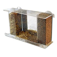 PetsN'all Dual-Column One-way Mirror Window Bird Feeder for Multiple Bird Species so Fluffy can watch them without being seen.