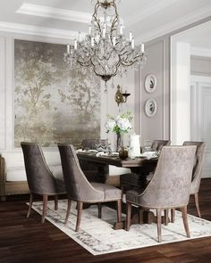 Interior Design Affordable Dining Room Design Ideas For A Romantic Atmosphere Lawn Mowers With t Elegant Dining Room, Luxury Dining Room, Elegant Home Decor, Formal Dining Rooms, Dining Sets, Dining Room Walls, Dining Room Design, Dining Room Furniture, Casa Disney