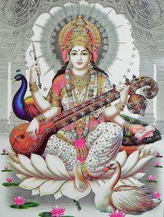 Saraswati, Hindu goddess of creativity, assisting musicians, artists, writers Jai Maa Saraswati, Saraswati Goddess, Saraswati Vandana, Hindu Kunst, Hindu Art, Divine Mother, Mother Goddess, Indiana, Religion