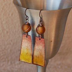 Enameled+Copper+&+Vintage+Glass+Earrings+by+Pobbletoes+on+Etsy