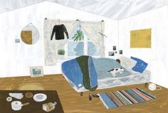 Works by Fumi Koike, based in Saitama, Japan. Fumi Koike's Website Pink Room, Interior Paint, Contemporary Artists, Colorful Interiors, Illustration Art, Sleep, Art Prints, Inspiration, Drawings