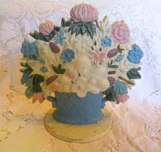 Cast iron doorstop flower basket vintage home decor country cottage style