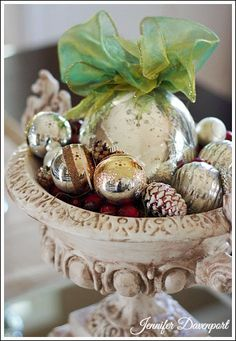 Inexpensive Christmas Centerpiece idea! For more Elegant Christmas Decorating Ideas