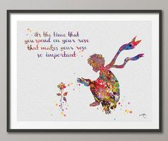 The Little Prince and Rose Quote Le Petit Prince inspiration Watercolor illustrations Art Print Wall Decor Art Home Wall Hanging [NO USD) by CocoMilla Le Petit Prince Phrases, Watercolor Print, Watercolor Illustration, Watercolor Wedding, Wall Art Decor, Wall Art Prints, Empathy Quotes, Rose Quotes, Image Citation