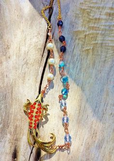 Goldfish Statement Necklace ~ Good Luck Gift For Mother Of Sons ~ Nature Inspired, Meaningful Gift ~ Beach Jewelry Ideas ~ Gift Mom From Son by blueworldtreasures. Explore more products on http://blueworldtreasures.etsy.com