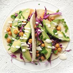 Roasted Chickpea and Avocado Tacos with Lime Crema