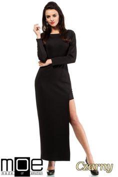04081dd19d CM2052 Wieczorowa sukienka z długim rękawem i rozcięciem - czarna
