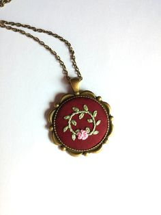 Round Pendant Bronze Chain Necklace Pink Flower by RedWorkStitches