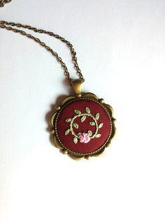 Round Pendant Bronze Chain Necklace Pink Flower by RedWorkStitches