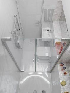 salle d'eau 3m2, carrelage blanc, idee salle de bain petite surface