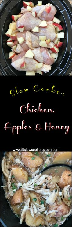Crockpot / Slow Cooker healthy paleo - Chicken, apples & honey, and potatoes slow cook together in this one-pot meal. This sweet and tangy paleo recipe is perfect for Rosh Hashanah or anytime!