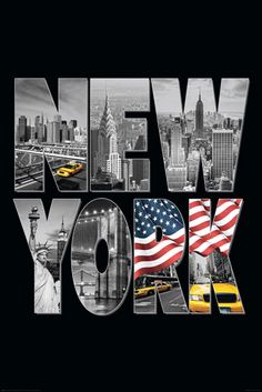 Poster USA New York Logo Taxi Flag Lettering 61 x cm - Travel Destinations New York Taxi, New York Logo, New York City, Deco Panel, Nyc, Dream City, Cool Posters, I Love Ny, Collage