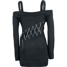 """#Maglione donna """"High Voltage Knitted"""" degli #ACDC nero a maniche lunghe con spalline, lacci intrecciati laterali e sul retro e ampia stampa frontale."""