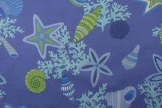 Robert Allen Beach Bongo Printed Acrylic Outdoor Fabric in Marine $17.95 per yard