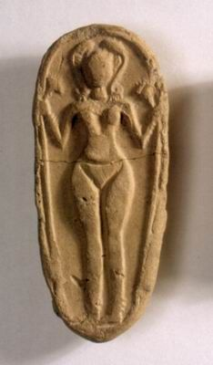Figurine plaque of a naked goddess, used in household rituals Tel Batash, Late Canaanite period, 14th-13th century BCE Pottery