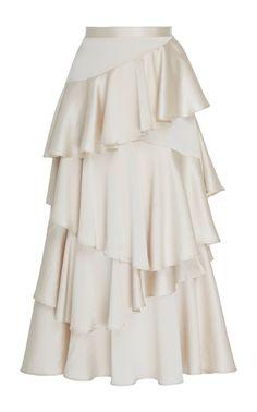 Alexa Chung's satin midi skirt is designed with a high waistline and asymmetrical ruffle detailing throughout. Satin Midi Skirt, Midi Skirts, White Midi Skirt, Skirt Outfits, Dress Skirt, Fashion Details, Fashion Design, Frack, Looks Style