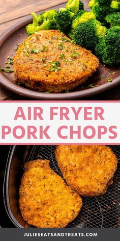 Air Fryer Pork Chops have a crispy breading and a juicy inside. They pork chops are so easy to make for a quick and easy dinner recipe. No more dry, tough pork chops for you! #air #fryer Air Fryer Recipes Pork Chops, Air Fry Pork Chops, Breaded Pork Chops, Juicy Pork Chops, Air Fryer Oven Recipes, Air Frier Recipes, Air Fryer Dinner Recipes, Pork Recipes, Ninja Recipes