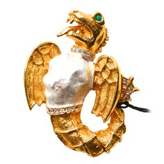 1960s Kenneth Jay Lane for Laguna Dragon Brooch | From a unique collection of vintage brooches at https://www.1stdibs.com/jewelry/brooches/brooches/