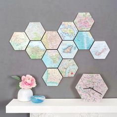map location hexagon collectible wall art is part of Gold bedroom decor - Map Location Hexagon Collectible Wall Art Wallart Collage Diy Wand, Unique Wall Decor, Diy Wall Decor, Wall Decorations, Creative Wall Decor, Creative Gifts, Gold Bedroom Decor, Wall Maps, World Map Wall Art