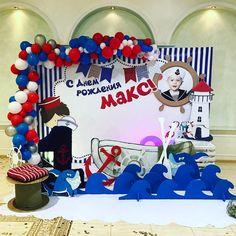 Irina Ungarova's photos Sailor Theme Parties, Sailor Party, 4th Birthday Parties, 7th Birthday, Happy Birthday, Cumpleaños Diy, Nautical Party, Photo Booth Backdrop, Birthday Decorations