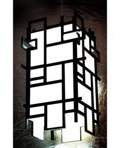 Pendente Mondrian Preto, da Luminos Art. Design Moderno - Amei! <3