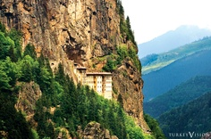 The Sümela Monastery was founded in 386 AD during the reign of the Emperor Theodosius I. The monastery is standing at the foot of a steep cliff at an altitude of about 3,900 ft. It is in the region of Maçka in the Trabzon Province of Turkey