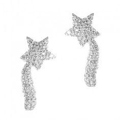 18K White Gold Diamond Shooting Star Earrings