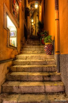 Beautiful alley,  Sicily, Italy, I loved walking up inside these little alley ways.. They had so much old charm