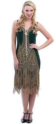 Great Gatsby 1920s prom dress:  Forest Green & Gold Embroidered Reproduction 1920s Flapper Dress $348.00  #greatgatsby #prom