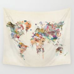 world+map+watercolor+Wall+Tapestry+by+Bri.buckley+-+$39.00
