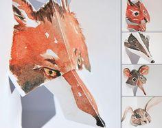Lovely handmade British wildlife Kirigami pop-up cards -  fox, squirrel, badger, shrew & rabbit.