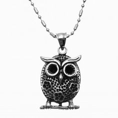 Stainless Steel Floral Patterns Owl Pendant