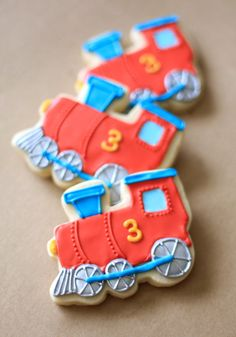 Hand Decorated Sugar Cookies Trains // 1 Dozen. $52.00, via Etsy.