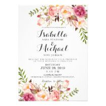 """Check out more popular styles of wedding invitations from the """"rustic floral wedding invitation set"""" collection of my shop! Clicking the """"Customize it"""" button will allow you to edit font color, font and position of the text and pattern. Beach Wedding Invitations, Wedding Invitation Templates, Zazzle Invitations, Birthday Invitations, Invites, Card Invitation, Flower Invitation, Invitation Ideas, Wedding Fans"""