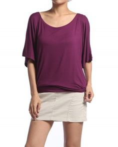 $12.00 PLUS Soild Colored BOAT NECK DOLMAN TOP Chic Drape Short Sle