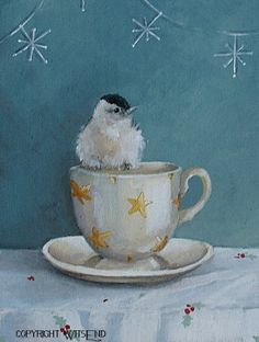 bird teacup painting Cup of Cheer Starry Night original ooak still life Christmas art FREE usa shipping
