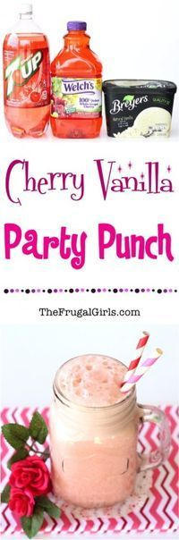 On the hunt for the perfect pink Party Punch? This Cherry Vanilla Party Punch Recipe is simple, delicious, and the perfect dash of frothy! Party Drinks Alcohol, Vodka Drinks, Smoothie Drinks, Fun Drinks, Yummy Drinks, Yummy Food, Beverages, Frozen Drinks, Mixed Drinks