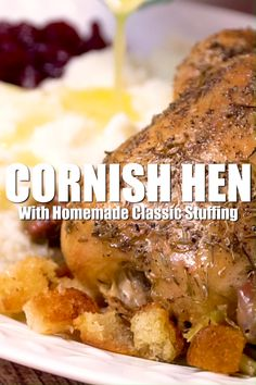 Cornish Hen with Homemade Stuffing Don't want to roast a whole turkey this year for Thanksgiving? Keep it small by roasting a Cornish Hen with Homemade Classic Stuffing plus other menu ideas for hosting Thanksgiving For Two. Thanksgiving For Two, Thanksgiving Recipes, Hosting Thanksgiving, Holiday Recipes, Easter Recipes, Holiday Meals, Homemade Stuffing, Stuffing Recipes, Cornish Hen Recipe With Stuffing