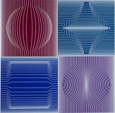 Available for sale from MSP Modern, Victor Vasarely, Tokyo, Silkscreen, 31 × 30 in Victor Vasarely, Applique Quilt Patterns, Tile Patterns, Bright Colors Art, Art Optical, Reverse Applique, Illusion Art, Geometric Art, Op Art