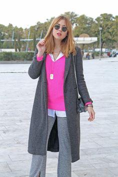 Maxi coat and knit pants #kissmylook
